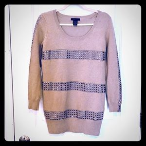 BCBG MaxAzria Camel/Tan Embellished Sweater Tunic